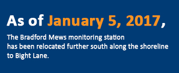 Note: As of January 5, 2017, the Bradford Mews monitoring station has been relocated further south along the shoreline to Bight Lane.