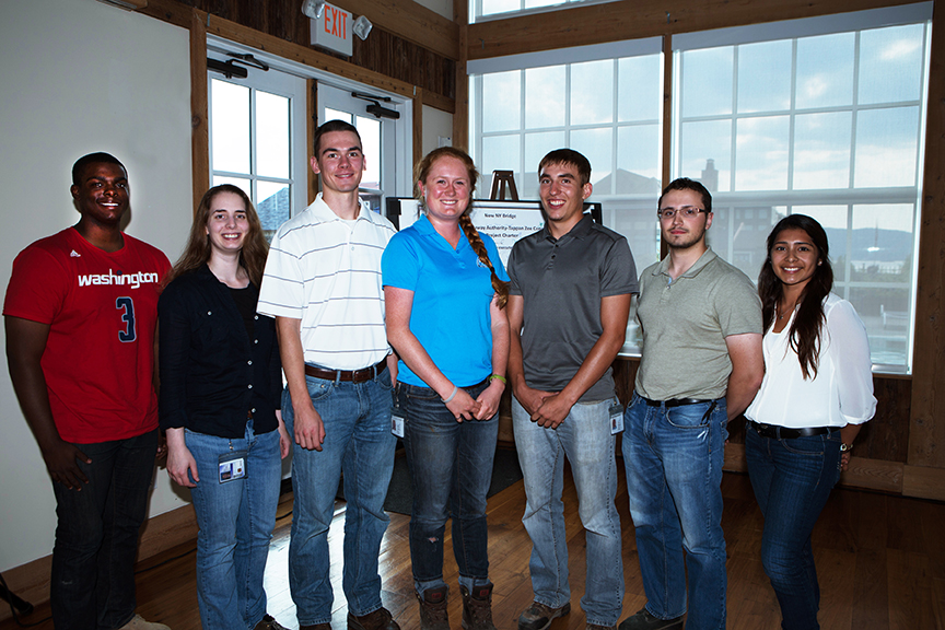 Tappan Zee Constructors, LLC summer interns from left to right: Vaden Williams, Stephanie Hamilton, Ryan O'Malley, Shea Quigley, Taylor Rumph, Kevin Alvernaz and Paola Lopez Martinez.