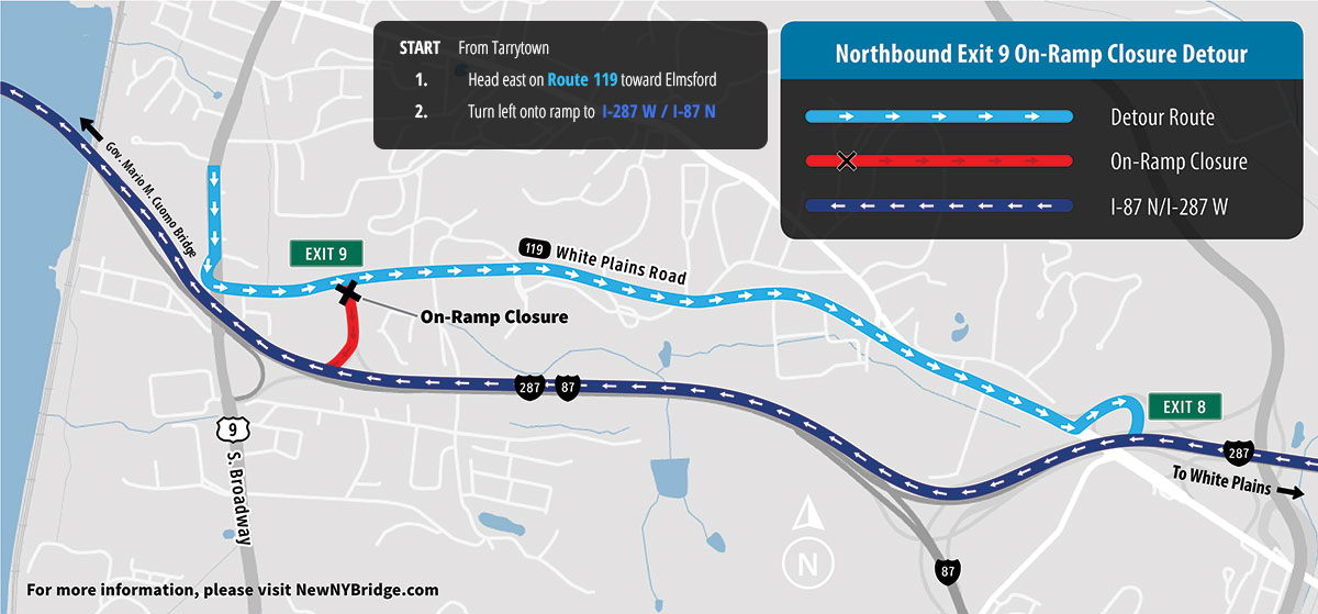 Map Of 287 New York.Traffic Shift Scheduled Next Week Overnight Lane And Ramp Closures