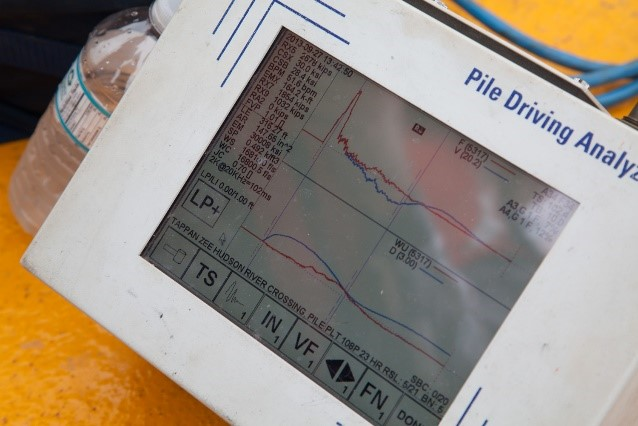 The Pile Driving Analyzer calculates pile strength or capacity as the steel-pipe piles are being driven into the riverbed.